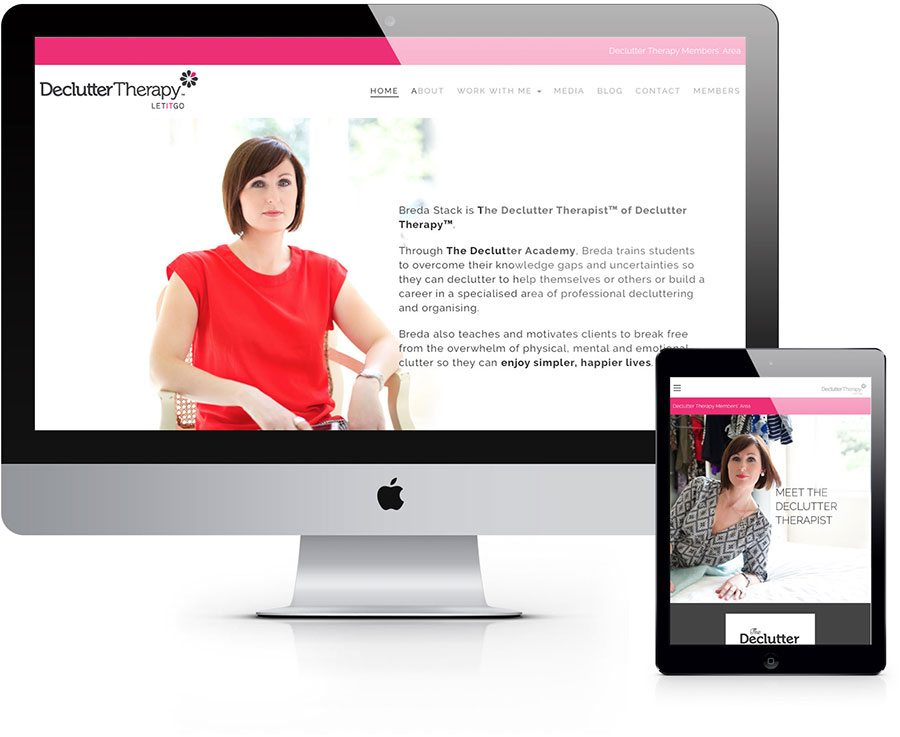 Breda's site has a members area and connects to her email marketing platform